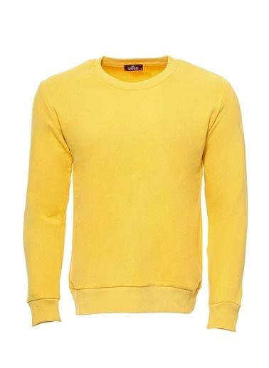 Wessi Wessı Erkek Bisiklet Yaka Baskılı Sweatshirt Sarı